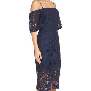 Chelsea 28 Navy Cold Shoulder All Over Lace